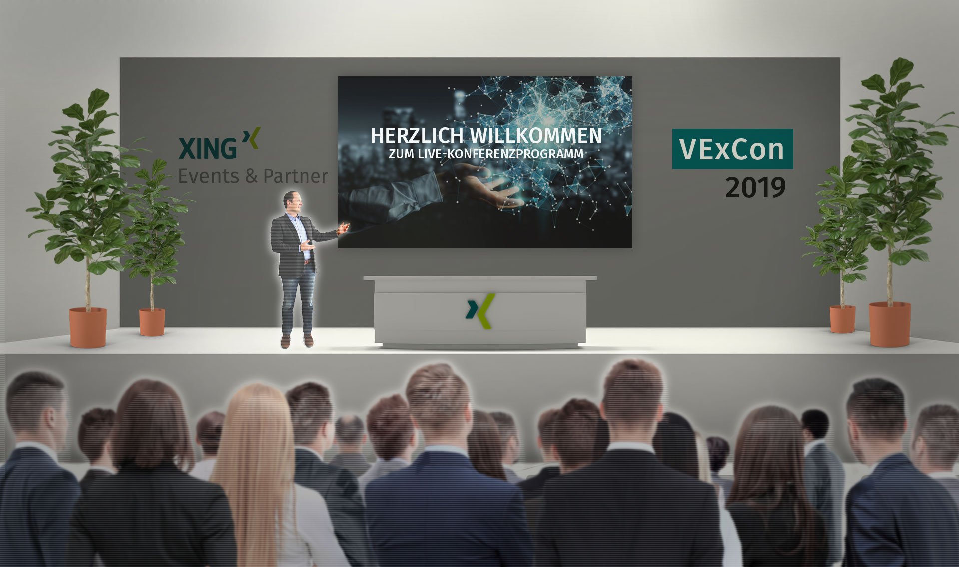 Virtuelle Events: Konferenzsaal der XING Events VExCon