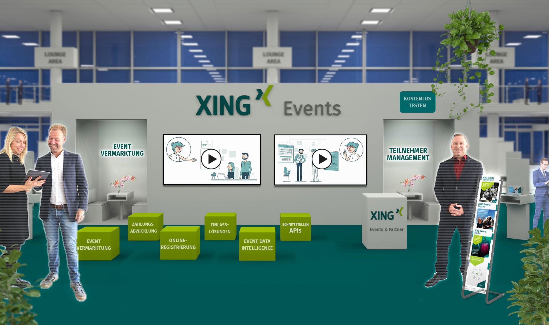 Virtuelle Messe VExCon: Der Messestand von XING Events