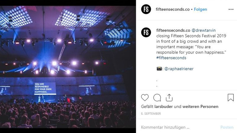 Posting vom Fifteen Seconds Festivals auf Facebook