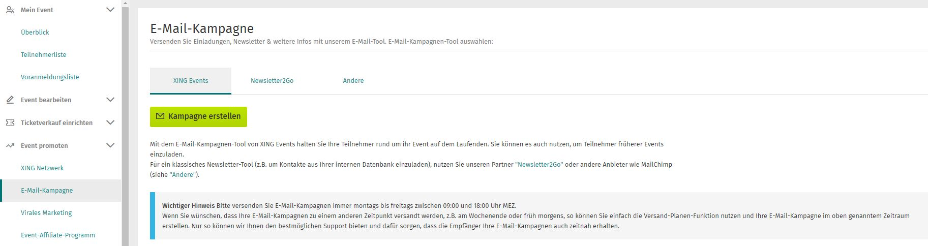 Die Newsletter-Funktion im XING EventManager